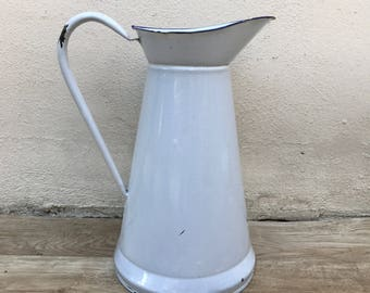 Vintage French Enamel pitcher jug white water enameled 2308171