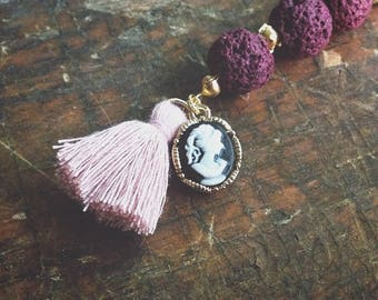 Romantic pink and burgandy scissor fob pink tassel black and white cameo charm key chain