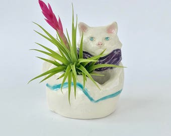 Handmade White and Purple Ceramic Cat Air Planter