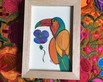 Bohemian Colored Tucan - Handdrawn Illustration - Colored Pencils