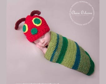 The Very Hungry Caterpillar Outfit, dress up, photo prop - Hat and Cocoon