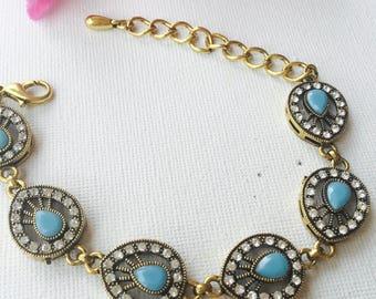Retro Design German Silver Delicate Bracelet - Beaded Turquoise