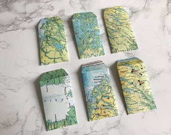 Set of 10 mini envelopes made from vintage maps