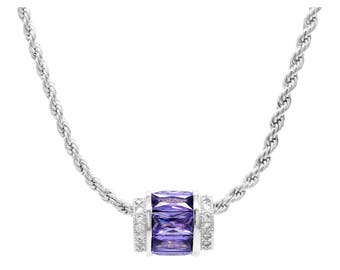Genuine 925 sterling silver rope chain necklace with sparkly purple and white baguette gems pendant, purple necklace, gift bag black box