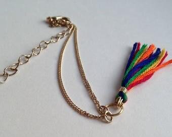 Rainbow Tassel Bracelet