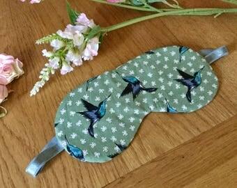 Sleep mask in Cotton Bird fabric, Hummingbirds on sage, pretty padded eye mask , beautiful gift