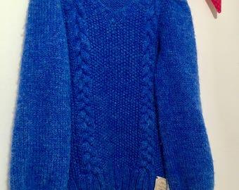 Kids cable V neck sweater/handmade/knit/kids gift/