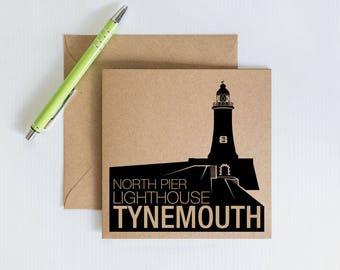 Handmade Retro Greeting Card,north pier lighthouse tynemouth, Geordie Novelty card, Kraft Recycled Card, Card for family and friends