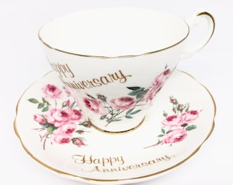 Happy Anniversary Teacup and Saucer by Argyle, Pink Roses, Gold Trim, Anniversary Gift