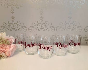 Custom wine glass, custom name glasses, custom bridal party gifts, bridal party gifts, bridal party wine glasses, bridal party glass