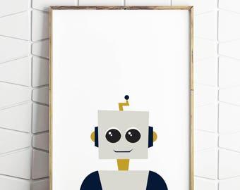 robot printable art, robot digital decor, robot modern prints, robot download art, robot boys room, robot modern kids art, robot kids room