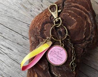 Pink and yellow bag charm