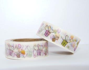 Masking Tape Washi Tape Happy Birthday gift wrapping fun kawaii decoration wedding scrapbooking