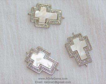 CZ Mother of Pearl Cross Silver Rhodium Cross Sideways Link Connector Cross Silver Connector for Link Chain Loop for Bracelet Necklace