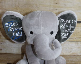 Personalized baby etsy personalized baby elephant baby gift birth annoucement new baby gift baby shower negle Images