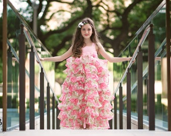Pink Floral Easter Dress, Girls Toddlers Pink Ruffle Princess Dress, Boutique Tea Party Dress, Spring Summer Photography Dress