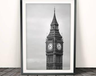 Big Ben,Big Ben Print, London poster, London Print, Urban print, Big Ben Photography, London Photography, Black and White, Wall Art Decor