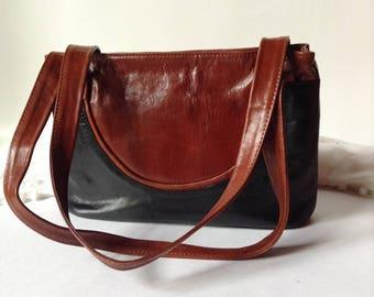 Black & Brown Leather Satchel | Shoulder Bag | Gorgeous Designer Handbag from Poland | Cholewinski
