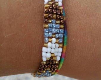 Woven seed bead arrow bracelet