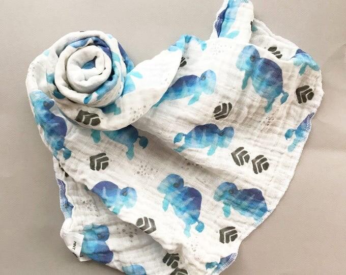 Blue Watercolor Buffalo /// Baby organic double gauze swaddle
