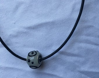 Black Swirl Bead Chord Necklace