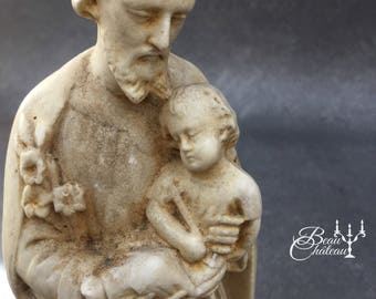 Gorgeous Vintage French Chalkware Plaster Statue of Saint Joseph and Baby Jesus