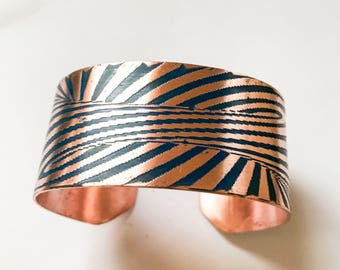 Copper cuff etched