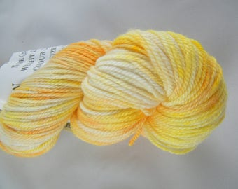15% Silk - DK Weight - Yellow and Orange - 75 Percent Polwarth Wool - Handdyed - Handpainted - Spring Speckles - 296 yards - 100g #441