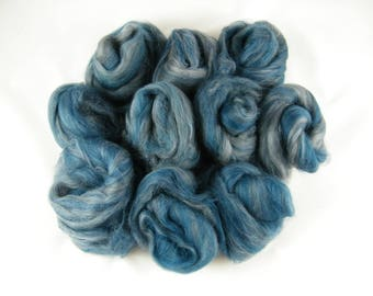 Jewel Blue & Grey Art Batt - Handmade in Canada - Superwash Merino - Drum Carder Produced - Great for Spinning