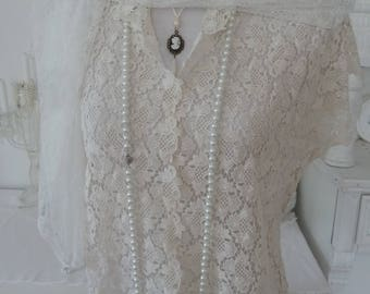 Lace blouse white cream Plauen of lace wedding Edwardian vintage jacket Bolero style jacket