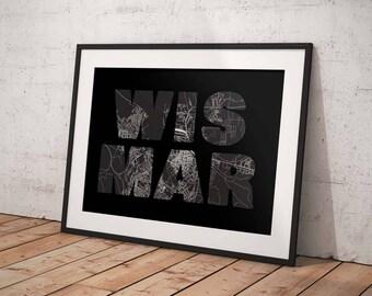 Wismar - A4 / A3 print - MapInBlack