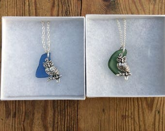 """Sea Glass and Silver Plated Owl. 18"""" Silver Plated Chain. Choice of Sea Glass Colour."""