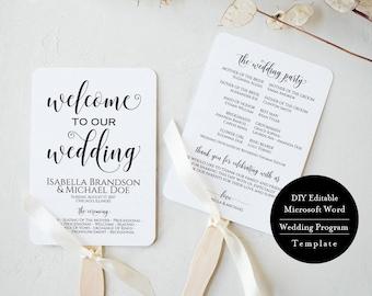 Wedding Program Fan, Wedding Program Fan Template, Rustic Wedding Program Fan, Wedding Program Fan Printable, Rustic Fan, MSW385