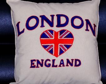 Handmade London England Cushion Cover