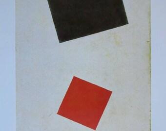 Kazimir Malevich exhibition poster - Dada y Constructivismo - Suprematism - Russian painter vintage print - 1989