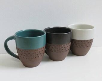 Taja Large Ceramic Mug with hand carved detail