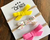 Funfetti Bow Trio - baby headband - 1st birthday - donut party - sprinkle - sprinkle party - funfetti cake - summertime - baby girl - bows