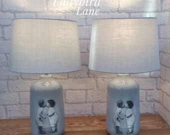 Pair of Grey Ceramic Lamps, Grey Table Lamps, Vintage Look Lamps, Cute Grey Lamps, Grey Lamps With Shades, Handfinished Lamps, Bedside Lamps