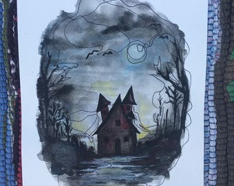 Haunted House- Halloween- Watercolor Painting- 8x10- Art By Joanna Weinreich