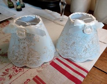 small scalloped lamp shade, French toile de Jouy with scenes of children