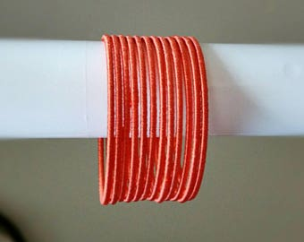 Light Orange/Pastel Orange Silk Thread Bangles ~ Set of 12 - Silk Thread Woven Bangles ~ Ethnic Indian Accessory ~ Favor/Return Gifts