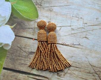 GOLD metallic color/beaded tassel/Short-tassel/handmade/oscar de la renta/clip on/beading dangle earring/Earrings with sterling SILVER stud