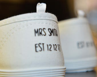Personalised Wedding Shoe Decals, flat shoes, converse, trainers, heels
