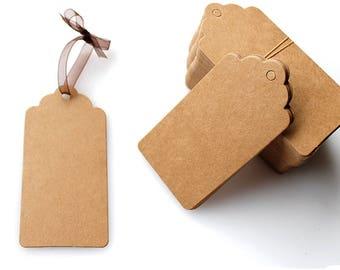50 Blank Kraft Paper Label Tags 5x3cm