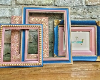 Navy Blue, Dusty Rose and Gold Ornate Picture Frames