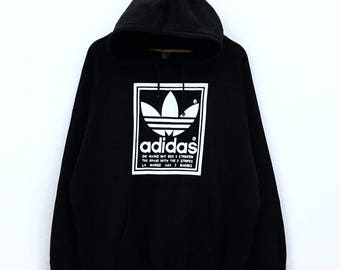 Rare!!! Vintage 70's 80's Adidas Hoodie Big Logo Made Canada Spellout 3 Stripes Double Side Logo Hoodie World Sports