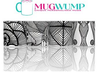 Black And White Mug Set of Mugs  (4).