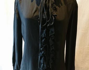 Vintage 1970's Black Silk Ruffle And Front Tie Long Sleeved Blouse BoutiqueByDanielle