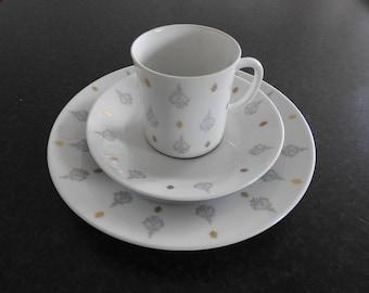 Upsala Ekeby Karlskrona, coffee cup, saucer and small plate/mid century modern