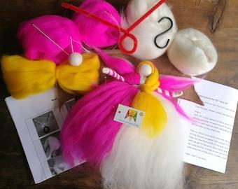 Christmas fairy kit UK, magic wool kit, waldorf fairy kit, felted angel kit, Christmas angel kit, needle felting gift, beginner felting kit